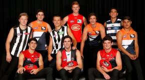 The top ten draft picks pose during the 2014 NAB AFL Draft at the Gold Coast Convention and Exhibition Centre, Gold Coast on November 27, 2014. (Photo: Lachlan Cunningham/AFL Media)