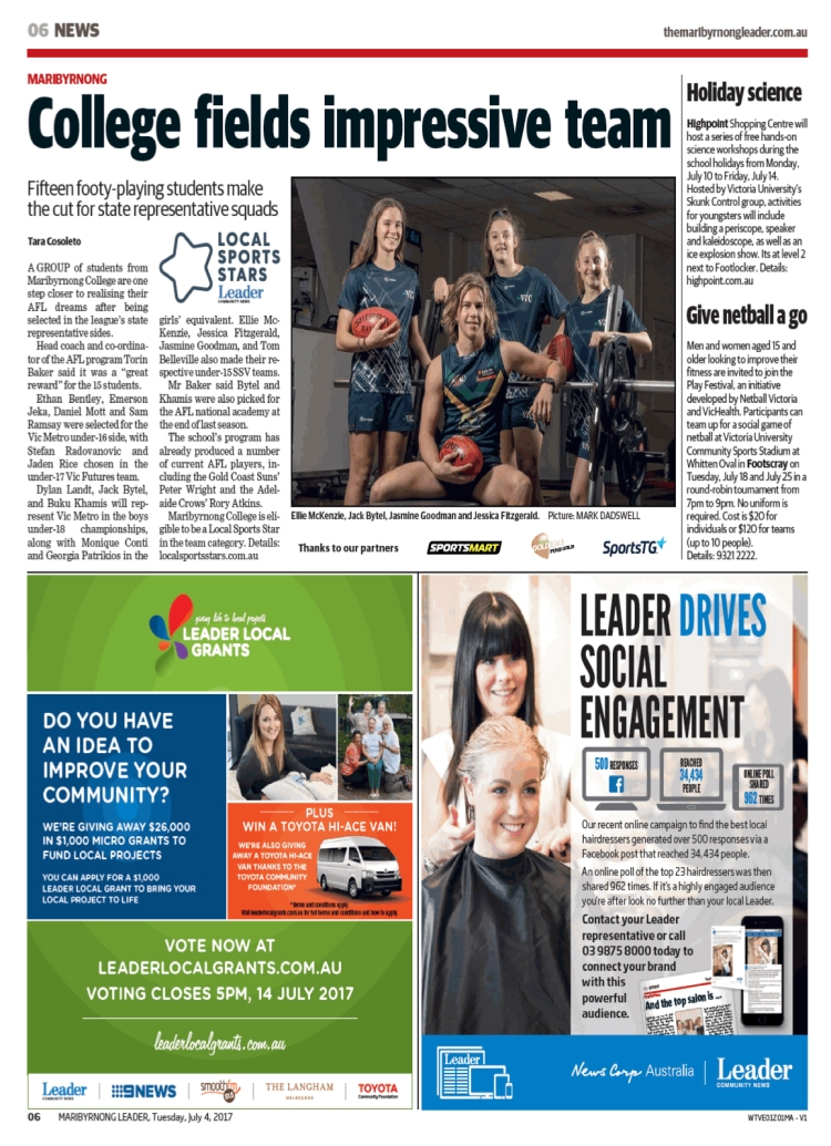 Maribyrnong College (Maribyrnong Leader, July 4 2017).jpg